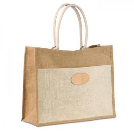 Two tone jute shopping bag