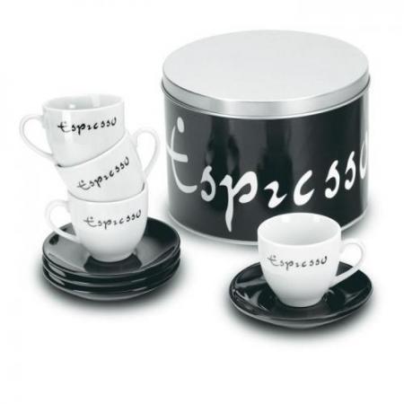 4 espresso cups in round box