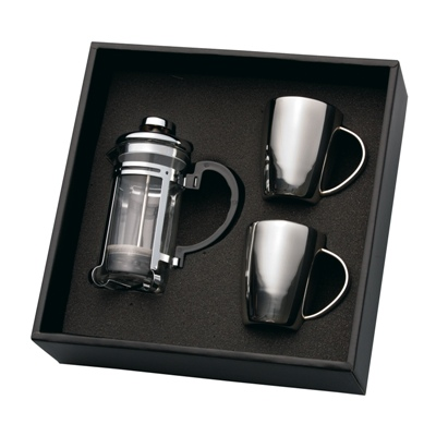 Coffee Plunger & 2 X S/S Mug Set