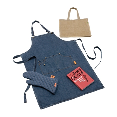 Jamie Oliver Cookbook With Denim Apron, Kitchen Glove and Jute Bag