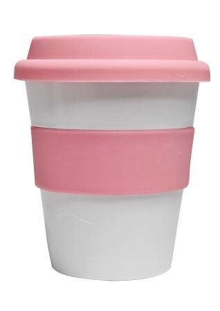 Grab N Go Coffee Cup-whitepink