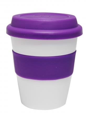 Grab N Go Coffee Cup-whitepurple