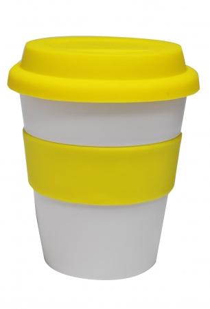 Grab N Go Coffee Cup-whiteyellow