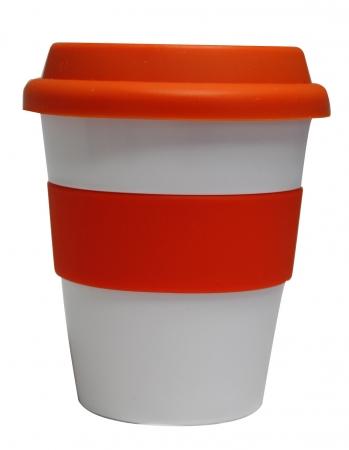 Grab N Go Coffee Cup Large 16oz-16oz whiteorange