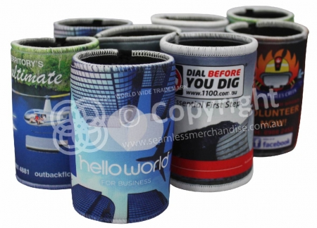 Full Colour CMYK printed stubby coolers with overlocked edges and base