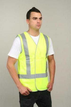 HI VIS VEST WITH X REFLECTIVE TAPE
