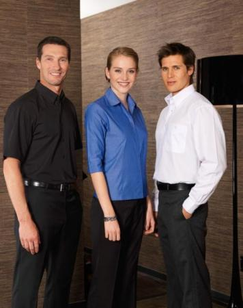 Ladies 3/4 Sleeve Polyester Cotton Tailored Shirt