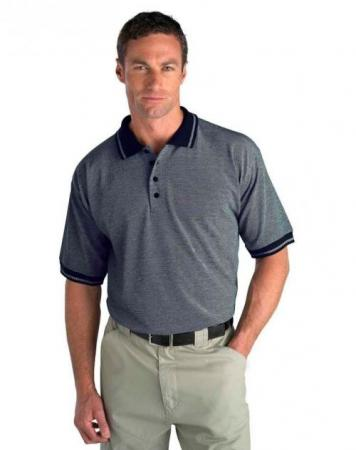 Cross Knit Polo with Jacquard Collar & Cuff