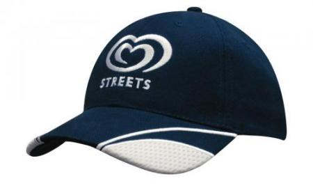 Brushed Heavy Cotton Cap With Peak Mesh Inserts