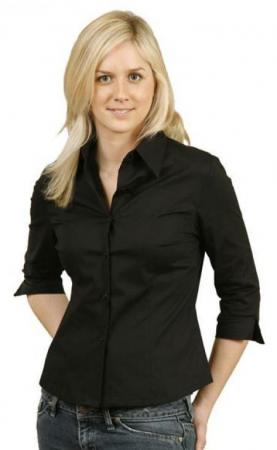 Ladies 3 / 4 Sleeve Stretch Poplin Shirt Size: 6 -
