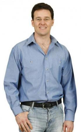 Mens Wrinkle Free Short Sleeve Chambray Shirts Siz