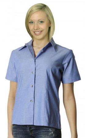 Ladies Wrinkle Free Short Sleeve Chambray Shirts S