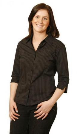 Ladies Pin Stripe 3 / 4 Sleeve Shirts  Without che