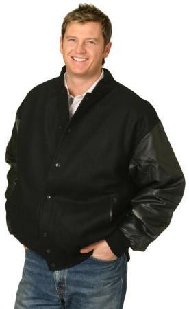 Melton Wool Baseball Jacket With Leather Sleeves S