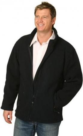 Mens Bonded Polar Fleece Full Zip Fitted Jacket Si