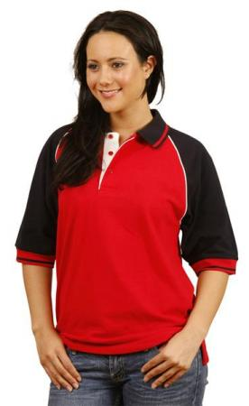 Tri-colour Raglan Sleeve Pique Polo (Unisex) Size: