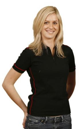 Ladies Mini-Waffle Contrast Piping Polo Size: 8 -