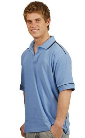 Mens Mini-Waffle Contrast Piping Polo Size: S - 5X