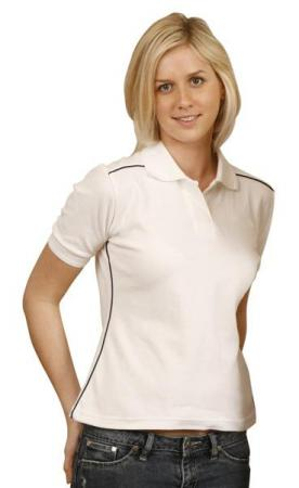 Ladies Pure Cotton Contrast Piping Short Sleeve Po