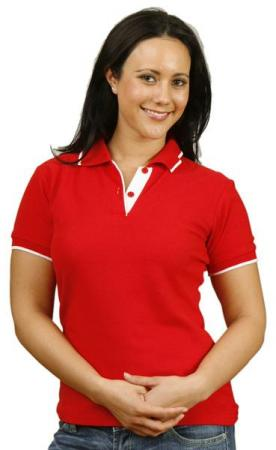 Ladies Contrast Pique Short Sleeve Polo Size: 8 -