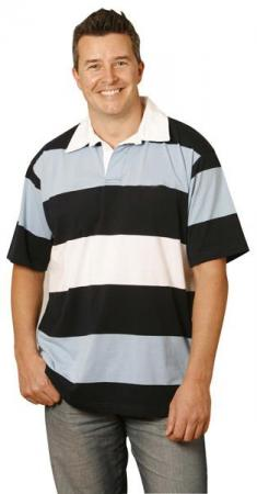 Mens Yarn Dyed 3-tone Short Sleeve Rugby Size: S -