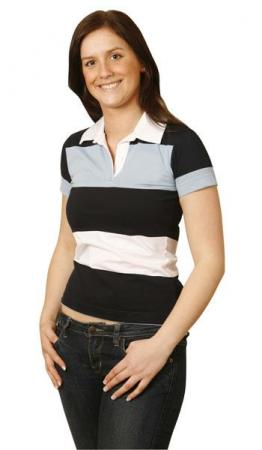 Ladies Yarn Dyed 3-tone Short Sleeve Rugby Size: 8