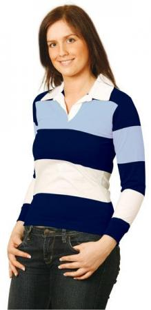 Ladies Yarn Dyed 3-tone Long Sleeve Rugby Size: 8