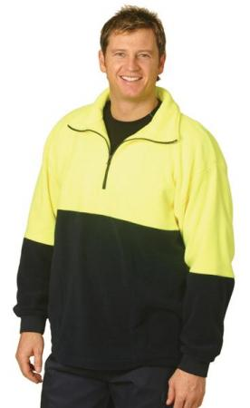 High Visibility Polar Fleece Half Zip Pullover Siz