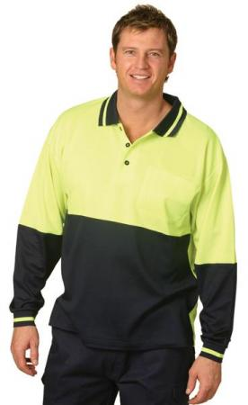 High Visibility TrueDry Long Sleeve Safety Polo Si