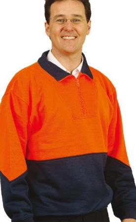 Mens High Visibility Long Sleeve Fleecy Sweat With