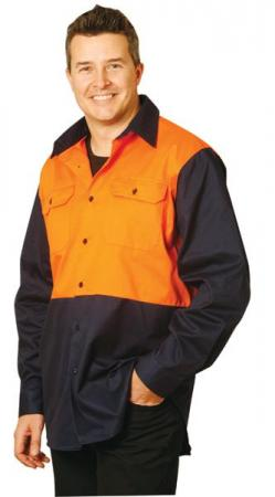 Hi-Vis Cotton Drill Shirt with Long Sleeve Size: S