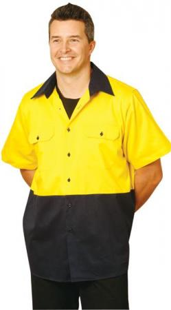 Hi-Vis Cotton Drill Shirt with Short Sleeve Size: