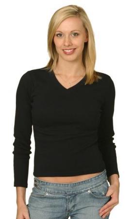 Ladies V-Neck Rib  Long Sleeve Tee Size: 8 - 18