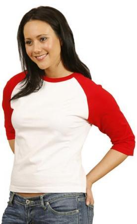 Ladies 3 / 4 Raglan Sleeve Tee Size: 8 - 16