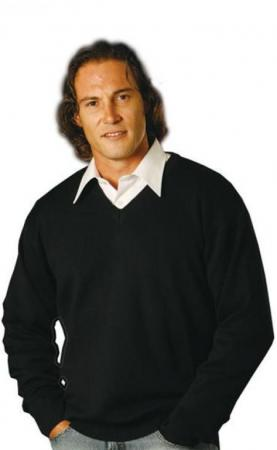 V-Neck Wool / Acrylic Knit Jumper Size: S ? 2XL