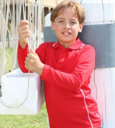 STITCH FEATURE ESSENTIALS-KIDS LONG SLEEVE POLO