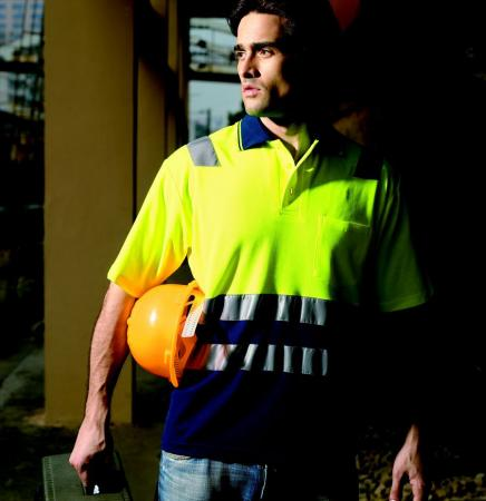 HI-VIS POLYFACE/COTTON BACK POLO WITH TAPE -S/S