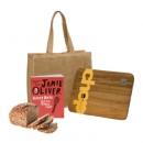 Jamie Oliver Cookbook With Salt and Pepper Timber Chopping Board and Jute Bag