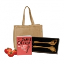 Jamie Oliver Cookbook With Salt and Pepper Timber Salad Servers and Jute Bag